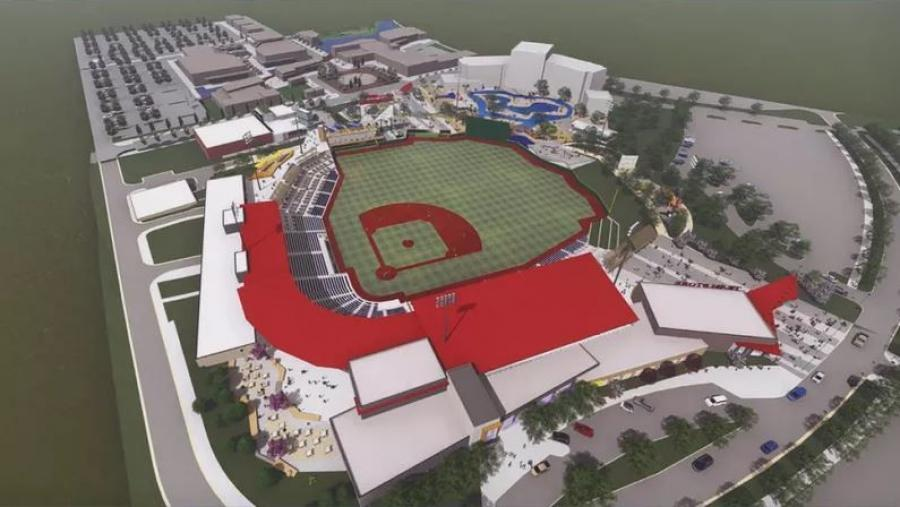 Artist rendering of the $50 million minor league baseball stadium.