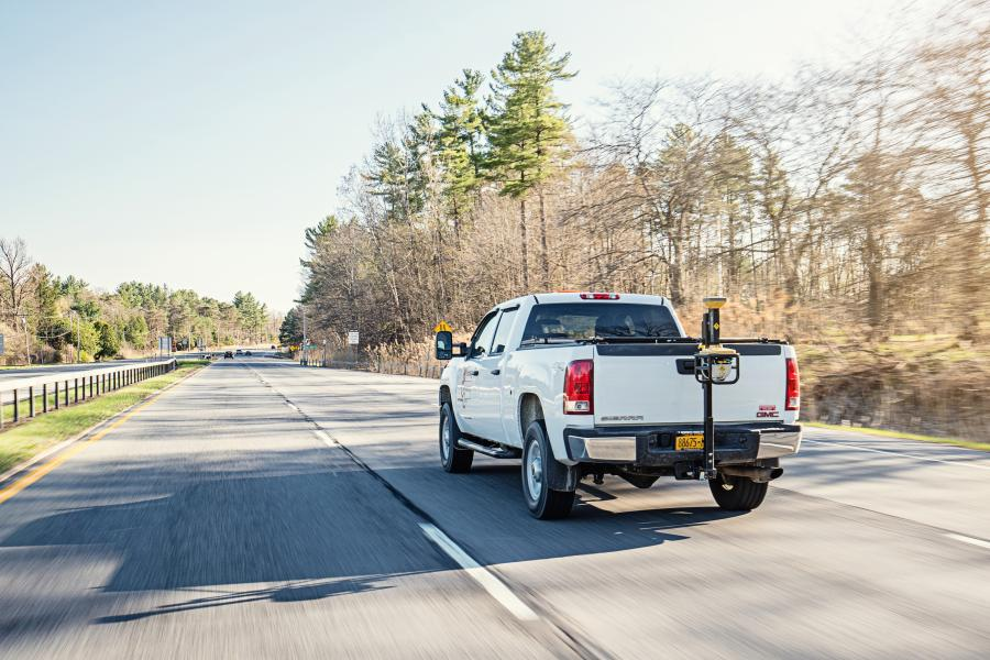 Cruising at normal highways speeds, the 3-D surface scanning can cover miles of road in a short time.