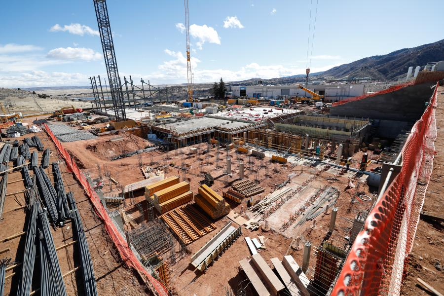 Highly-efficient satellite production is the focus of a $350 million 266,000-sq.-ft. Lockheed Martin facility under construction near Denver. (Lockheed Martin photo)