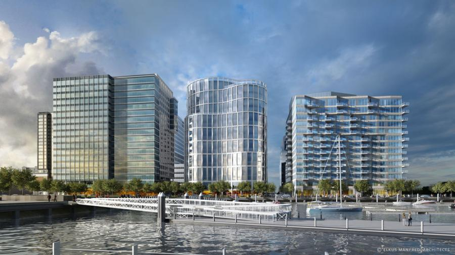 Located in the dynamic Seaport District, the new tower will offer 310,000 sq. ft. of waterfront commercial space and a 5,900 sq. ft. outdoor public plaza facing the marina. 