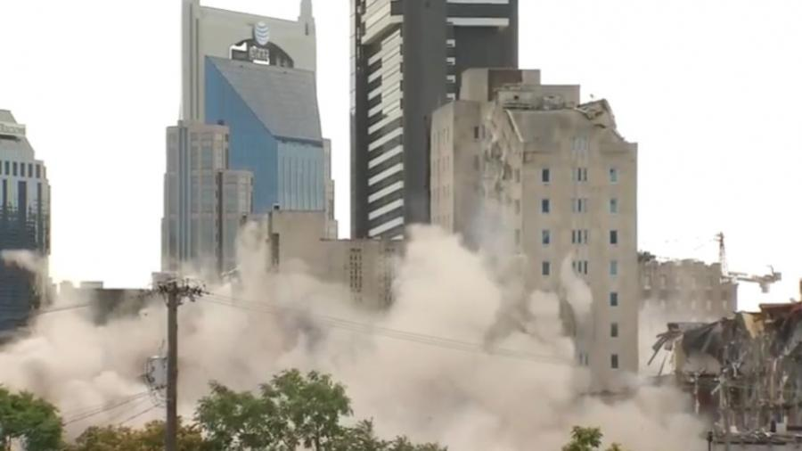 Crews imploded Nashville's historic Sullivan Tower at 8:30 a.m. on July 21. (Photo Credit: Fox 17 News)