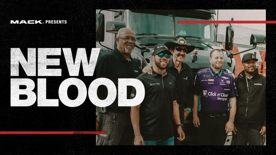 """New Blood,"" the third episode of Mack Trucks' RoadLife, features Bubba Wallace, the rookie driver for the iconic Richard Petty Motorsports 43 car, NASCAR Hall of Famer Richard Petty and veteran drivers who deliver the critical gear needed for each race."
