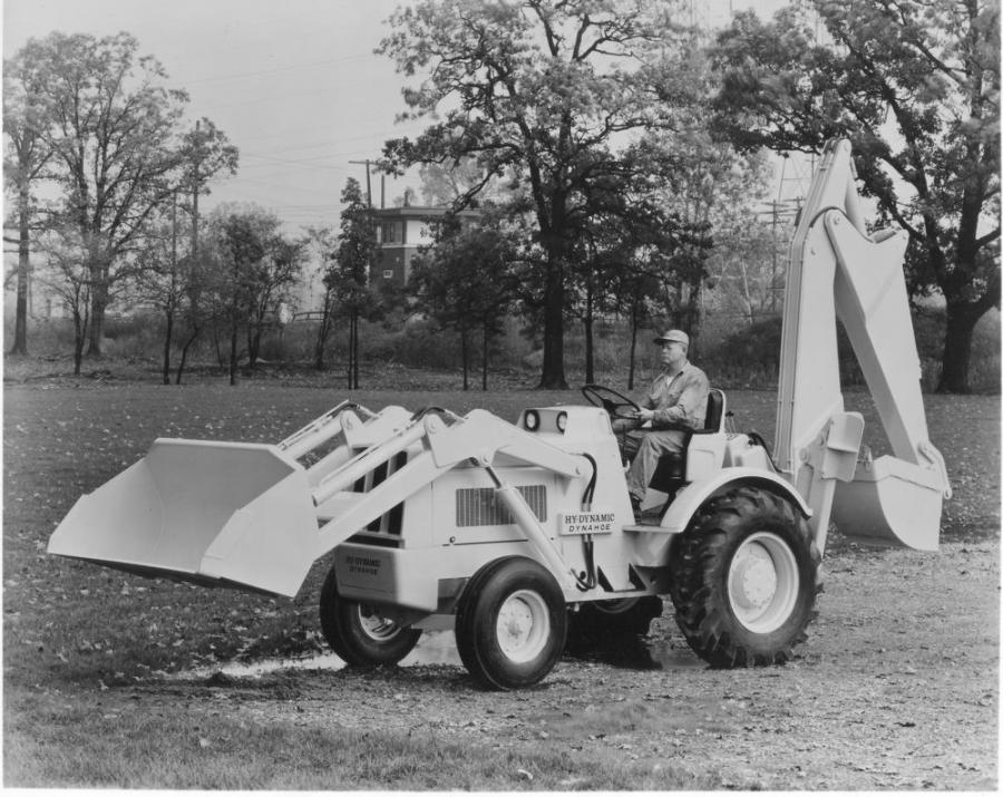 The Dynahoe Model A was one of Hy-Dynamic Company's first loader-backhoes. The Model AD was a similar machine, but powered by a diesel engine.