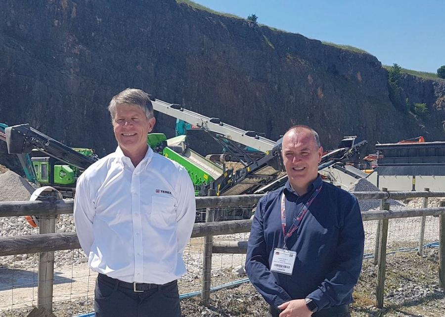 Terex CEO John Garrison (L) and Terex MP President Kieran Hegarty at the Hillhead 2018 Show.
