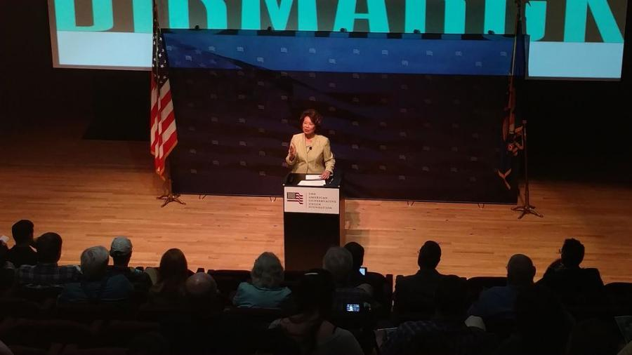 Elaine Chao visited Bismarck for an energy and infrastructure summit. (Photo credit: Prairie Public Broadcasting)