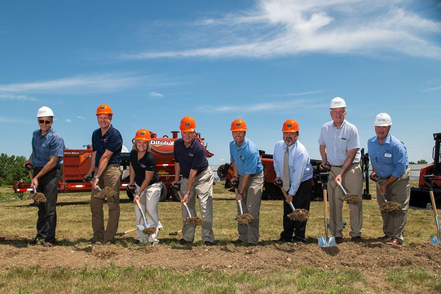 The turning of the soil at the groundbreaking ceremony.