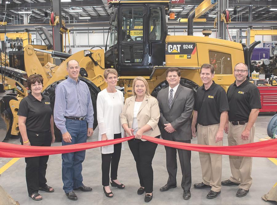 (L-R): Foley Chief Financial Officer Charlotte Kerner, Salina Deputy City Manager Mike Schrage, City Councilwoman Melissa Rose Hodges, Foley CEO Ann Konecny, Salina Mayor Karl Ryan, Chief Legal Officer Doug Stuhlsatz and Chief Operating Officer Shane Ham perform the ribbon-cutting.
