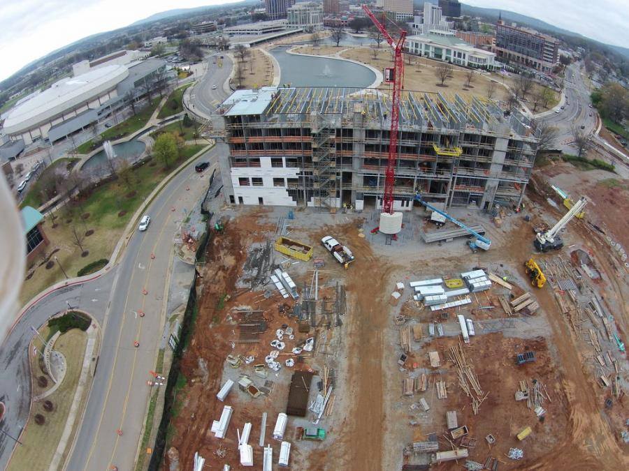 Aerial view of the AC Hotel construction.