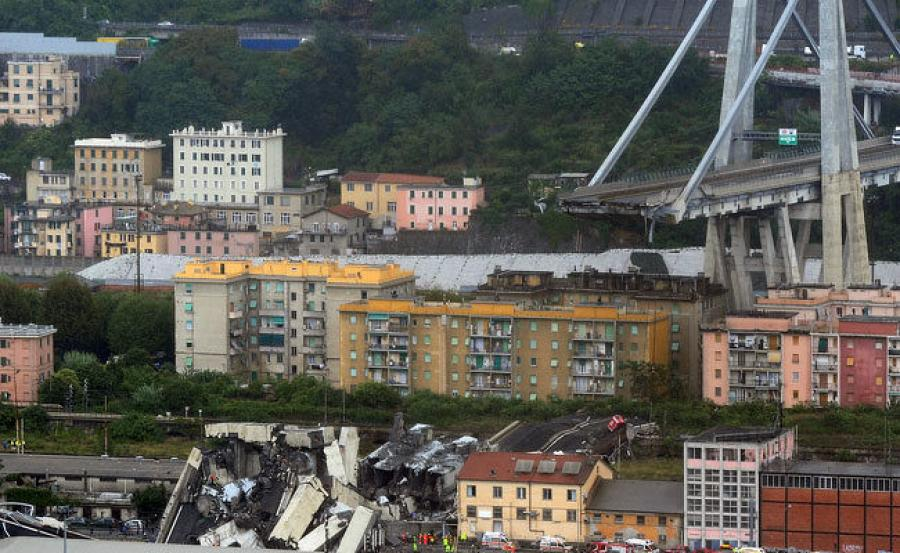 The Morandi Bridge, in Genoa, Italy, collapsed after a violent, sudden rainstorm hit around 11:30 a.m. on Aug. 14. (Photo credit: NDTV)