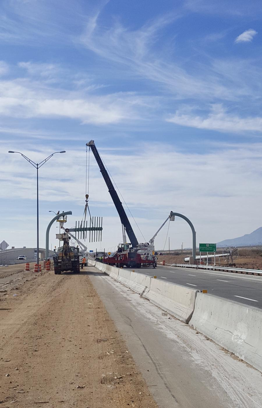 After the removal of the two-lane existing overhead sign bridge, new overhead sign bridges will be taking its place, spanning across all six lanes of traffic.