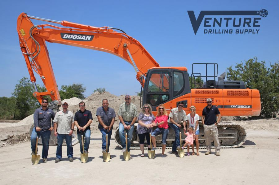 Venture has exclusive rights for the Doosan line in approximately an 80-mi. radius around Austin and handles the Epiroc line of hydraulic attachments for much of Texas. In photo, Venture family members include Michele McCarthy (6th from L), executive manager; Colt McCarthy (7th from L), president; Abigail McCarthy (8th from L); and Daphne McCarthy (9th from L).