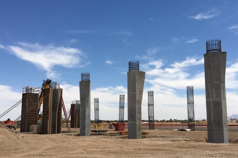 Bridge Rebar – Ames Construction erects the bridge piers for the new SR 347 bridge over the UPRR tracks. (ADOT Photo)