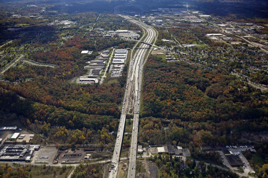 Aerial view of I-271.