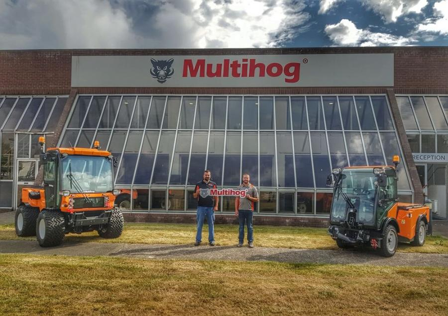 Joe and Joey Bonnell in Ireland at the Multihog facility during the North American Distributor Meeting in July 2018.