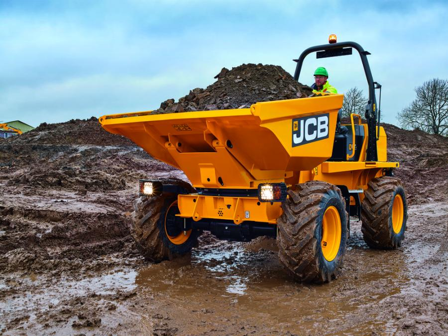 The new JCB 6T-1 site dumper utilizes JCB-made components, including axles, transmission and JCB EcoMAX engine, for maximum efficiency and performance.