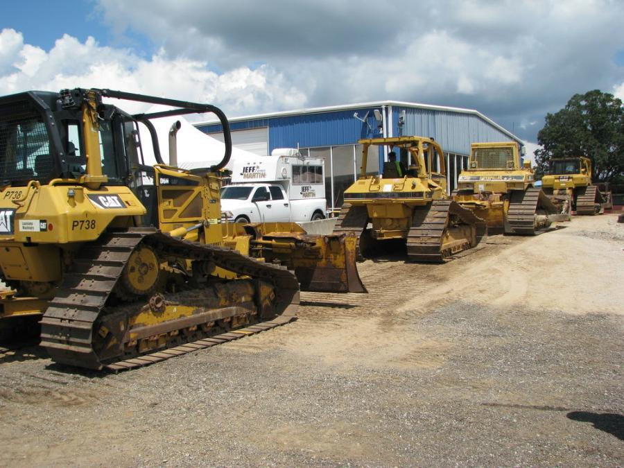 A nice selection of Cat dozers makes its way across the ramp on day one of the two-day sale.