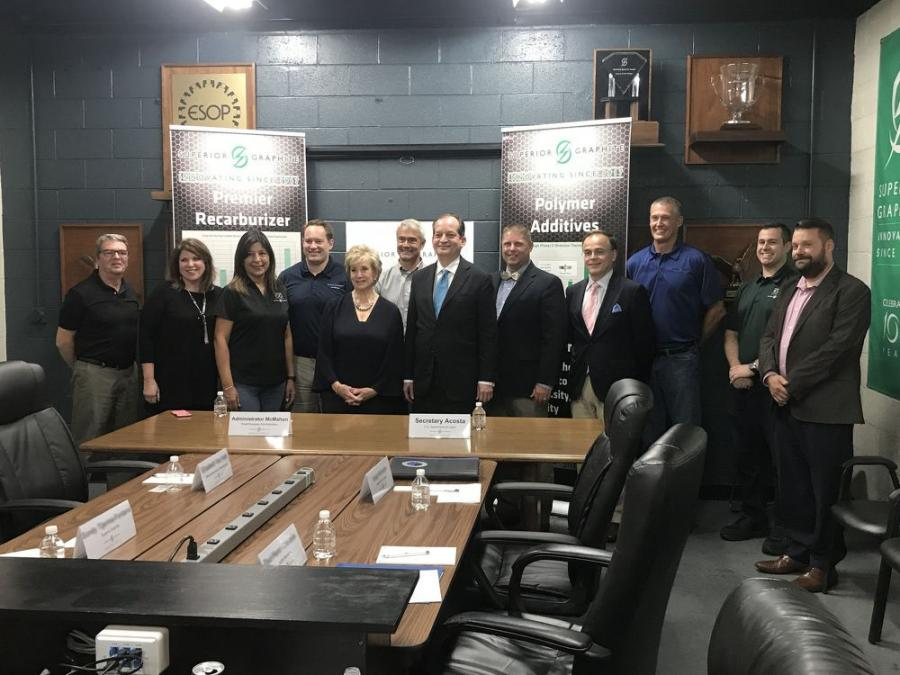 After a tour of the facility, Secretary Acosta and Administrator McMahon participated in a roundtable discussion with leaders from several small businesses.
