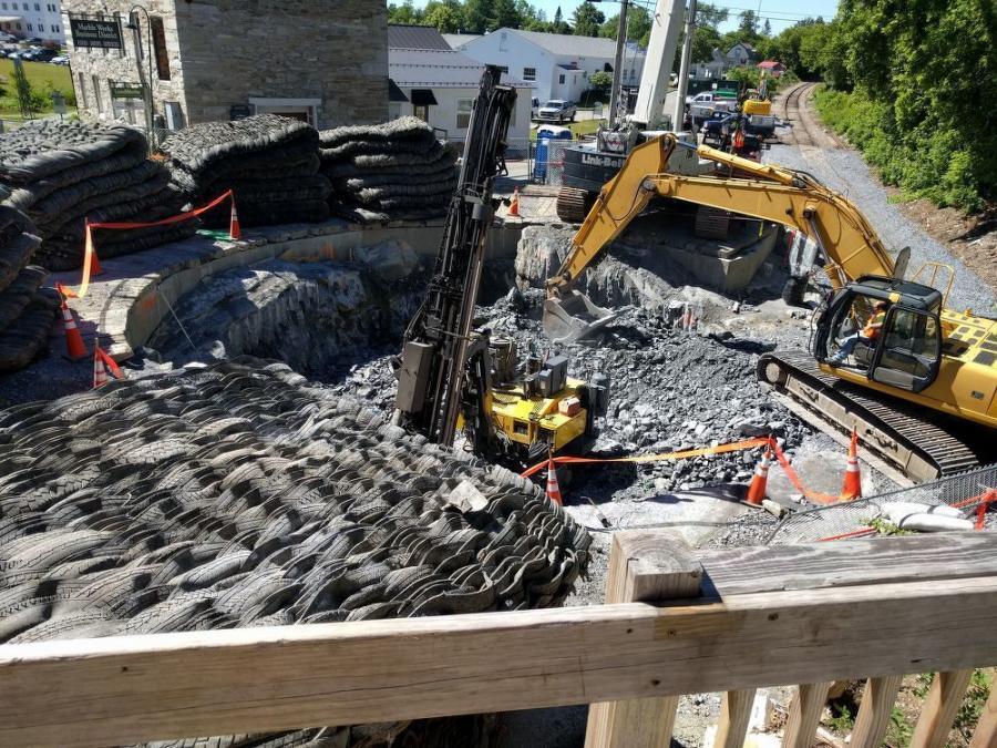Main equipment being used on the job includes cranes for drainage improvements and tunnel construction; excavators for drainage improvements, excavation of soils, construction of roadways and railroad improvements; and a variety of trucks.