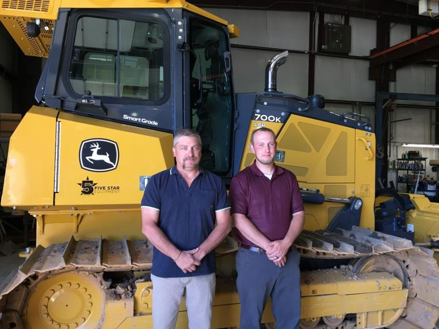 Budd Greevy (L), Williamsport, Pa., territory sales manager; and Charles Roberts, Grade Control specialist.