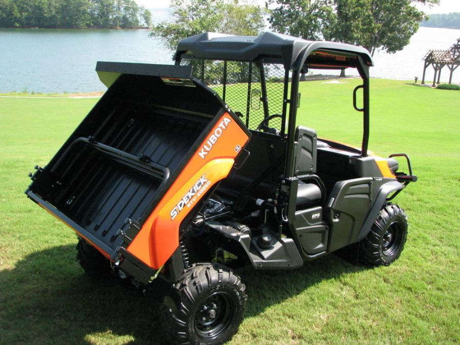 An orange Sidekick is on display at Lake Lanier's picturesque Pinelsle Point. The Kubota Sidekick comes in four colors: orange, camouflage, green and black paint schemes.