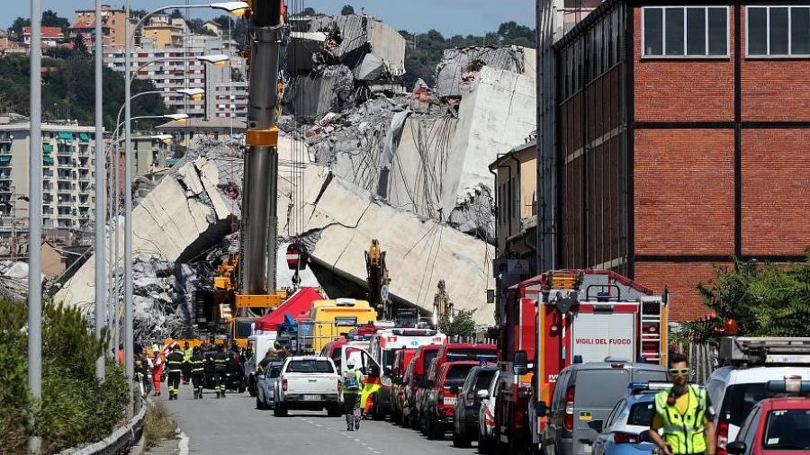 At least 35 people died when this bridge collapsed in Genoa, Italy earlier this month. (Photo Credit: Euro News)
