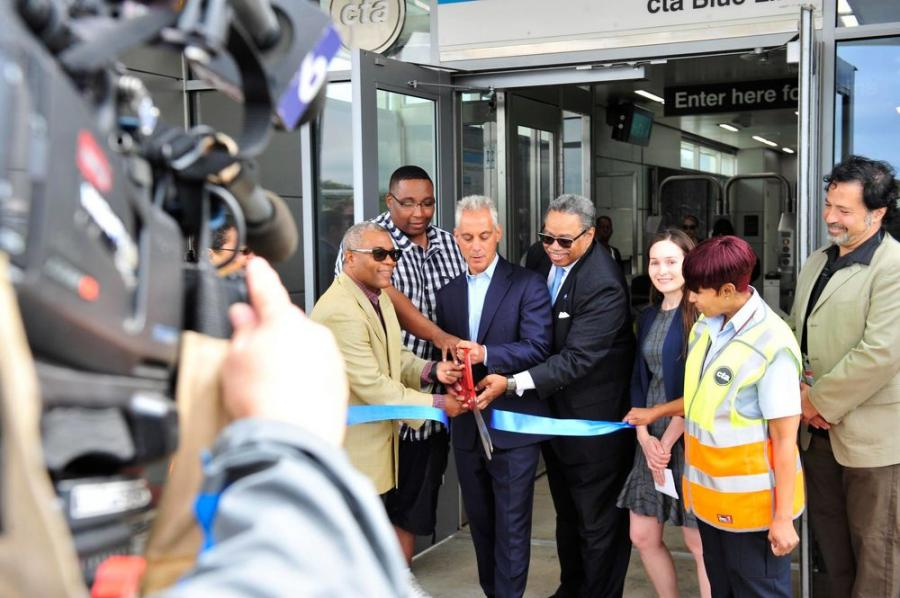 Mayor Rahm Emanuel and CTA President Dorval R. Carter Jr. opened the new Illinois Medical District (IMD) Blue Line station on Aug. 21 following a $23 million renovation and modernization project. (Mayor Emanuel Facebook/Walter Mitchell photo)