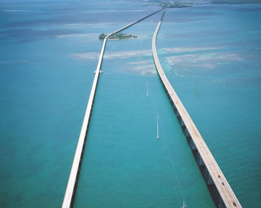 The two Seven Mile Bridges span the turquoise waters of the Florida Keys — the newer vehicular bridge (on right) is undergoing a $14.9 million rehabilitation.