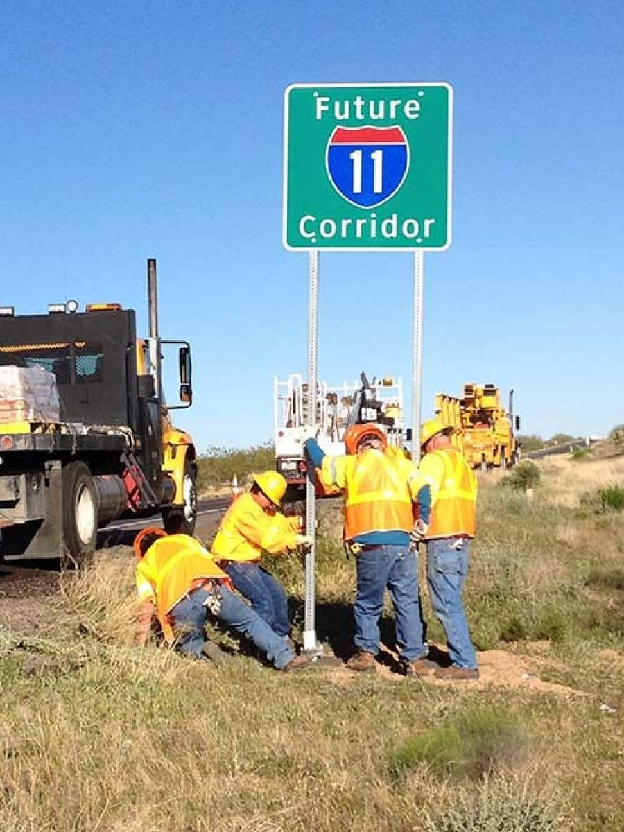 "Since 2014, signs have marked U.S. 93 in Arizona as the ""Future I-11 Corridor."""