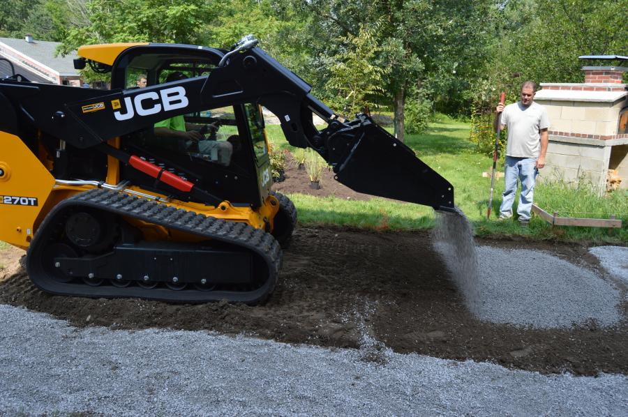 Ryan Russell of Land Plans Inc., a landscape architect, stated that the JCB 270T compact track loader was a versatile tool for the group to use.