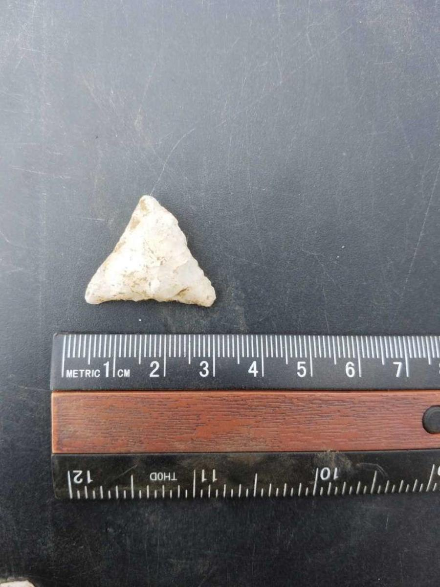 A quartz-point arrowhead found in the construction zone in East Norwalk.