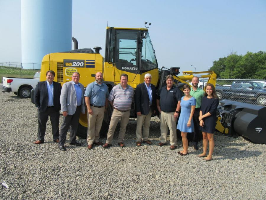 (L-R): Tim Ross, district director of Congressman Bob Gibbs; AED Senior Manager Michael Dexter; Columbus Equipment Company General Manager Jeff Richards; Massillon Branch Manager Mike Haney; Congressman Bob Gibbs; Branch Manager Dan Mannis; Congressman Gibbs' Chief of Staff Hillary Gross; Legislative Director Alex Briggs; and Legislative Aide Victoria VanBuskirk take a moment for a photo op.