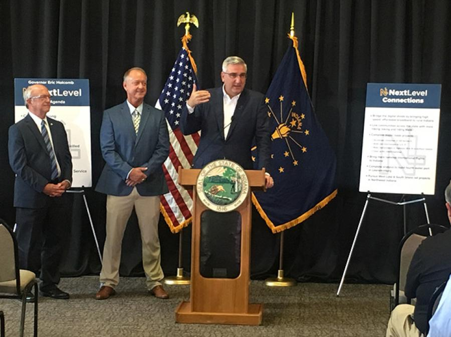 Gov. Eric J. Holcomb announced his Next Level Connections program. 