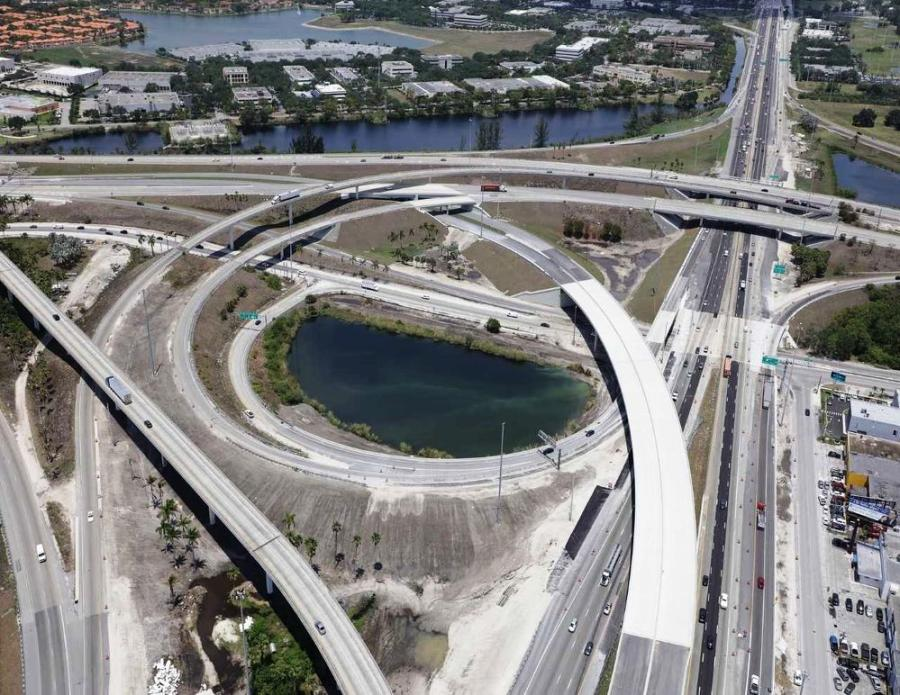 An aerial view of SR 826/Palmetto Expressway.