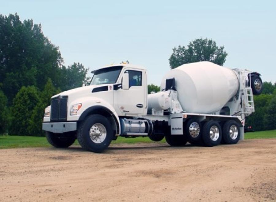 The Kenworth T880S with set-forward front axle is the go-to configuration for mixer customers required to comply with federal bridge formulas.
