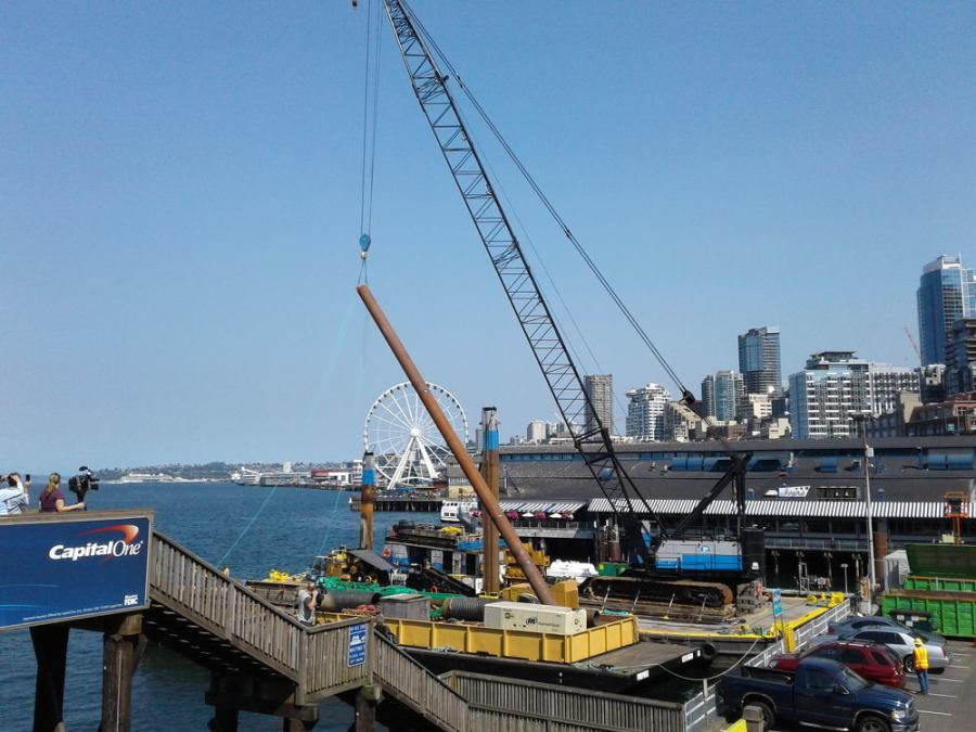 The first order of work on the Colman Dock Project was to build a temporary home for the King County Water Taxi and Kitsap Transit Fast Ferry. This allowed crews to demolish and rebuild the passenger-only ferry terminal on the south side of the dock, near Yesler Way. (WSDOT photo)