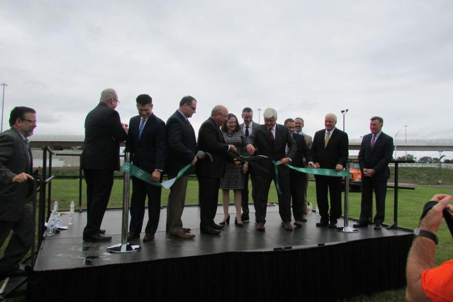 Pennsylvania Turnpike Commission, PennDOT, FHWA and elected officials, including U.S. Rep. Brian Fitzpatrick, cut the ceremonial ribbon Sept. 21, 2018, on Stage 1 of the PA Turnpike/I-95 Interchange project.