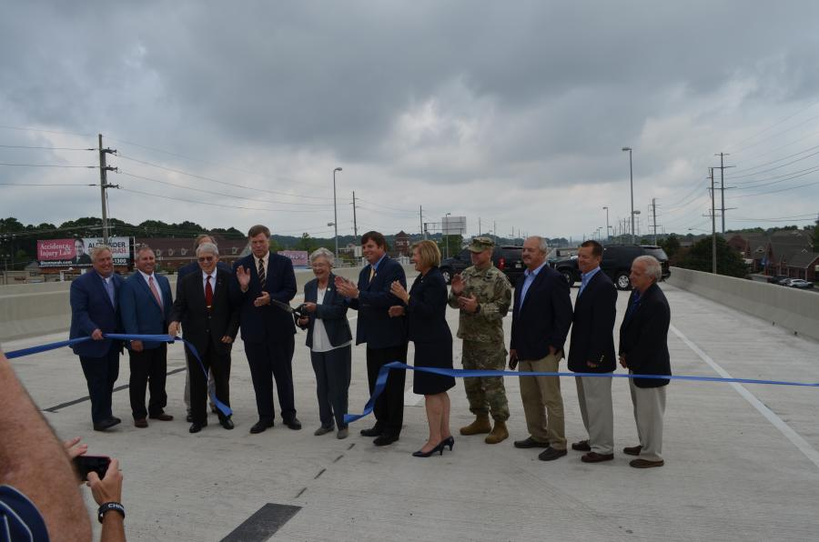 Huntsville Mayor Tommy Battles, Alabama Gov. Kay Ivy and Madison County Chairman Dale Strong were among those who turned out for the ribbon-cutting ceremony for the finished highway.