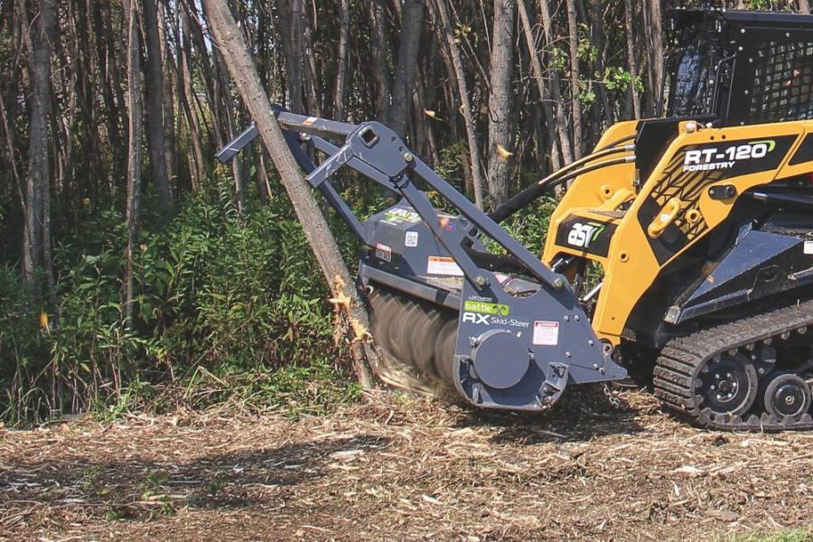The Battle Ax's 17-in. (43 cm)-diameter rotor features built-in depth gauges, which function similarly to raker teeth on chain saws to prevent the attachment from engaging too much material at one time.