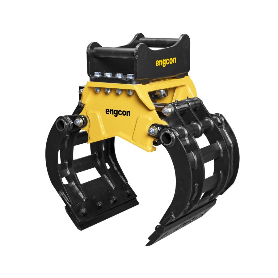 The SK02 mini sorting grab weighs 240 lbs. (109 kg), making it particularly suited for small excavators in the 1.6 to 3.3 ton (1.5 to 3 t) class.