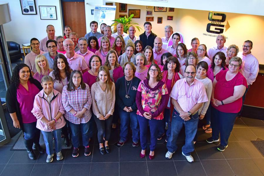 O&G employees wear pink in support of breast cancer awareness month.