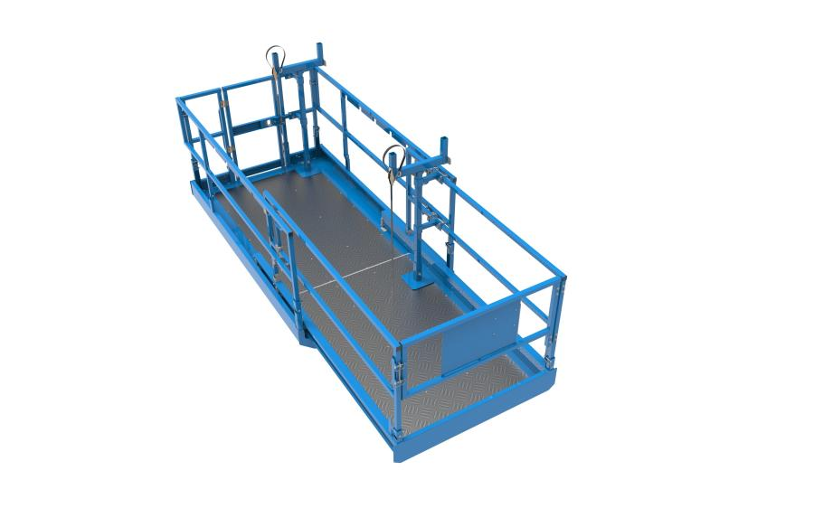 The Genie Lift Tools material carrier attachment can accommodate more than one pipe, can be positioned on the scissor lift's main platform or extension deck, can still be used with the extension deck retracted and can be installed laterally or longitudinally.