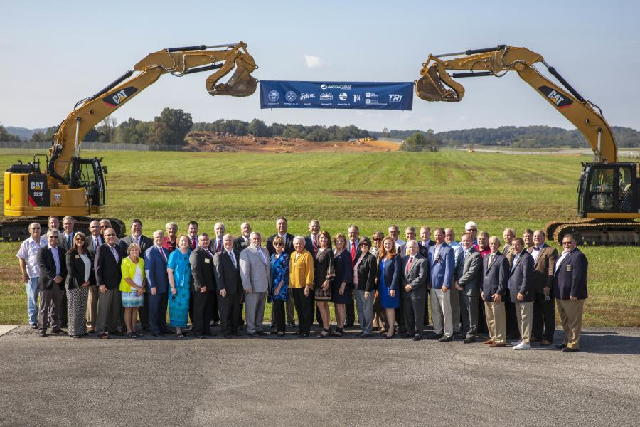 Representatives of the Tri-Cities Airport Authority; the cities of Bristol, Kingsport and Johnson, Tenn.; and Sullivan and Washington counties, Tenn., as well as state of Tennessee officials, celebrate the next phase of development for Aerospace Park Oct. 3 in Blounstville, Tenn.
