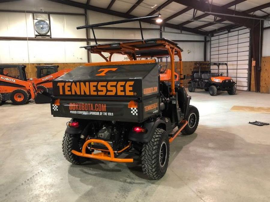 The Kubota UTV's alterations include a turbocharger, custom exhaust, a custom air intake and a sound system that echoes through the Volunteer Village. And of course, it's decked out in Volunteer Football orange.