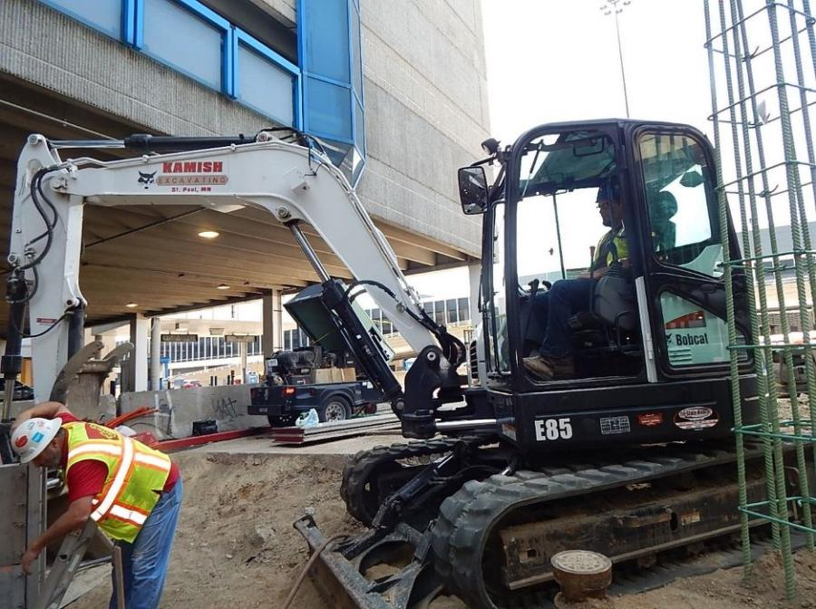Equipment operator Ben Dolan uses a 66-hp Bobcat E85 excavator, which has a 13-in. tail overhang. Keith Kamish, co-owner of Kamish Excavating, said the E85 can work in compact environments, including construction, landscaping, utilities, rental and agriculture.