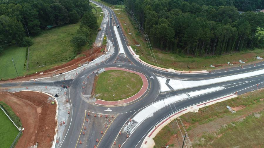 A multilane roundabout is being constructed at the intersection of Georgia SR 12 and SR 142.
