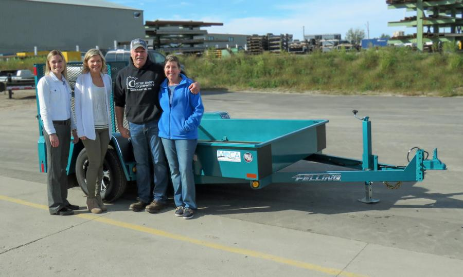 (L-R) are Brenda Jennissen, Felling Trailers Inc. CEO; Bonnie Radjenovich, Felling Trailers Inc. VP of HR; and bid winners Jon and Laurie Stein, Centre Dairy Equipment & Supply Inc.