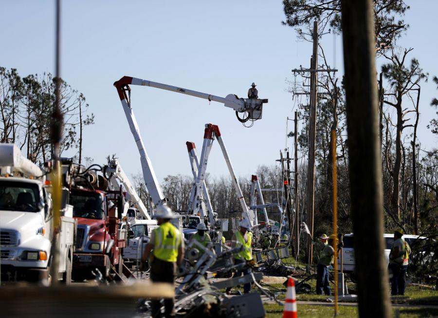 Crews work to restore power in the aftermath of Hurricane Michael in Panama City, Fla., Saturday, Oct. 13, 2018. (David Goldman/AP Photo)
