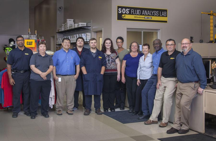 The fluid analysis team at Gregory Poole (L-R): Michael Nobles, Mary-Beth Knish, Edwin Chua, Alex Flores, Andrew Stumpf, Kimberly Mullens, Katina Southerland, Norma Bolton, Maureen Summers, Bryan Clark, Perica Tadic and Joe Bousquet.