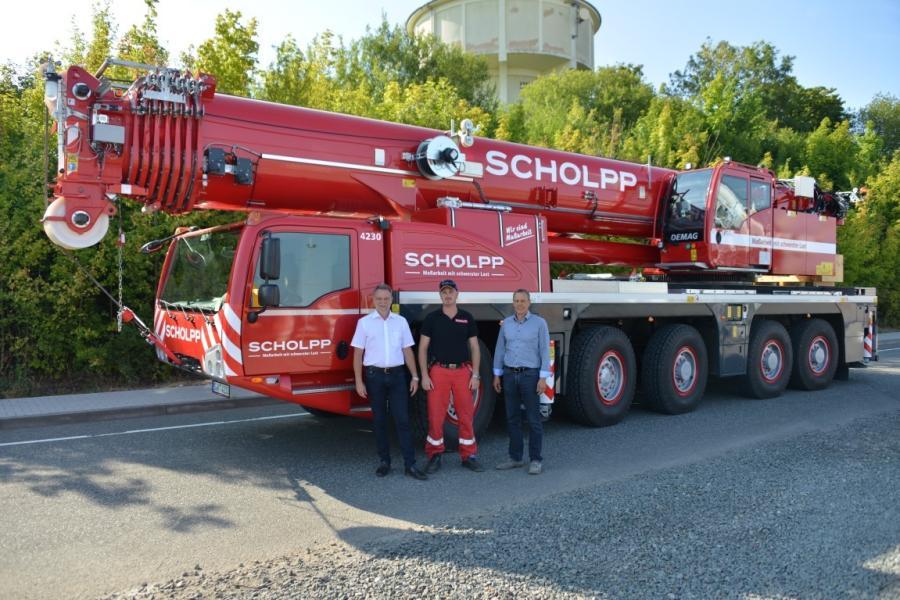 (L-R) are Stephan Burkhardt, head of operations, Scholpp Kran und Transport GmbH; Michael Ochs, crane operator, Scholpp Kran und Transport GmbH; and Michael Zieger, sales manager, Terex Cranes.