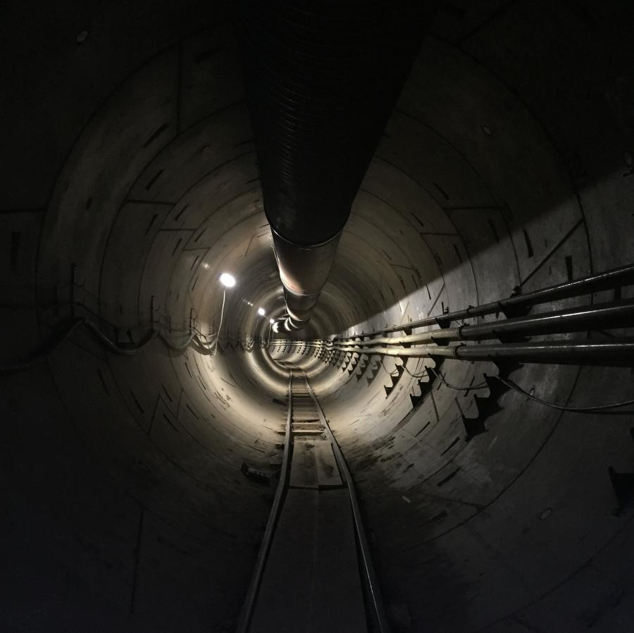 "This structure, which is located between downtown Los Angeles and Torrence, Calif., has been dubbed a ""test tunnel"" by the Boring Company, and serves as a model for the company's loop system. (Photo Credit: The Boring Company)"